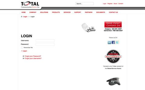Screenshot of Login Page totalcomm.ca - Login - captured Oct. 7, 2014