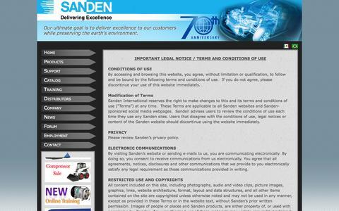 Screenshot of Terms Page sanden.com - Sanden USA - captured Oct. 1, 2014