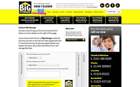 Screenshot of Contact Page bigstorage.info - Contact BiG Storage | Commercial & domestic Self Storage UK - captured Oct. 5, 2014