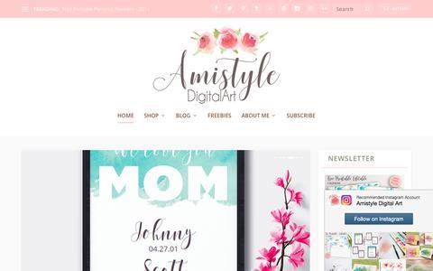 Screenshot of Home Page amistyledigitalart.com - Stylish Printables, Watercolor Clipart, Wedding Stationery - captured May 2, 2017