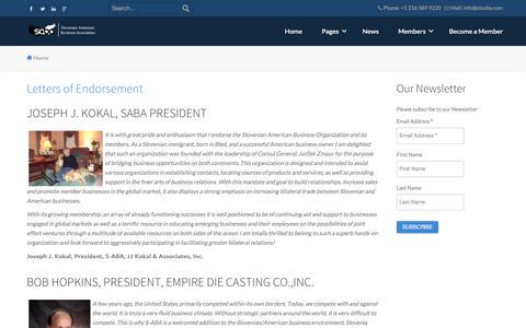 Screenshot of Testimonials Page sloaba.com - SABA - Slovenian American Business Association - SABA - Slovenian American Business Association - captured Oct. 6, 2014