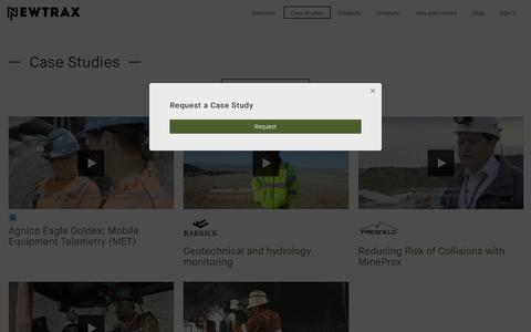 Screenshot of Case Studies Page newtrax.com - Safety and Productivity Case Studies | Newtrax - captured June 28, 2018