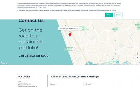 Screenshot of Contact Page verdani.com - ESG Management | CA | Verdani Partners | CONTACT - captured Oct. 18, 2018