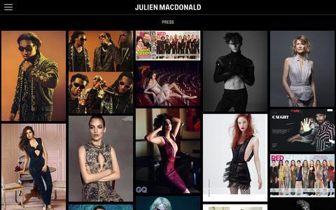 Screenshot of Press Page julienmacdonald.com - Press :: JULIEN MACDONALD :: - captured Oct. 14, 2018
