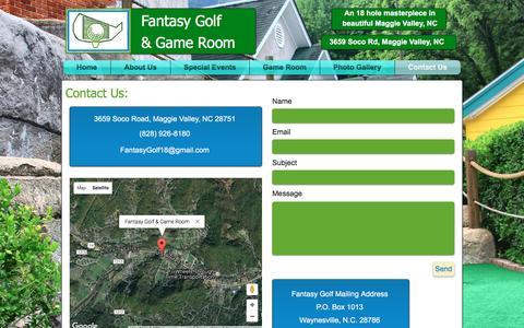 Screenshot of Contact Page fantasygolfandgameroom.com - Fantasy Golf and Game Room | Contact Us - captured June 5, 2017