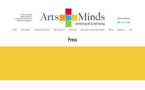 Screenshot of Press Page artsandminds.org - Press - Arts and Minds - captured Feb. 6, 2016