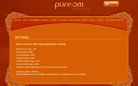 Screenshot of Pricing Page pureom.com - Our Pricing | Pure Om | Hot Yoga - captured Oct. 9, 2014