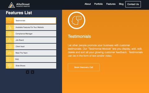 Screenshot of Testimonials Page altastreet.com - Features | Financial Web Design Agency | Altastreet - captured Oct. 8, 2017