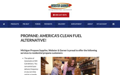 Screenshot of Products Page webstergarner.com - Propane | Michigan Propane Supplier | Residential Propane | Agricultural - captured Oct. 19, 2018