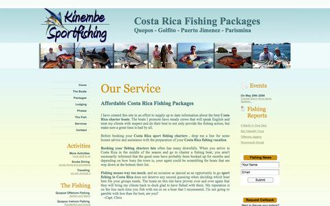Screenshot of Services Page kinembe-sportfishing.com - Our Services In Costa Rica - captured Sept. 30, 2014