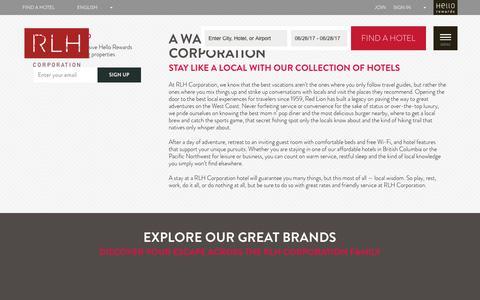 Screenshot of Home Page redlion.com - Affordable Hotels | RLH Corporation | Red Lion Hotels - captured June 26, 2017