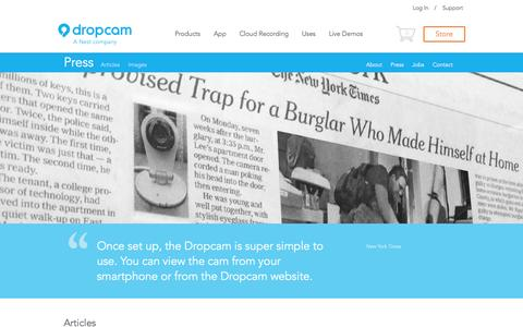 Screenshot of Press Page dropcam.com - Reviews, News, & Press Releases | Dropcam - captured Sept. 15, 2014