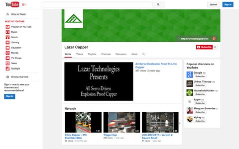Screenshot of YouTube Page youtube.com - Lazar Capper  - YouTube - captured Oct. 28, 2014