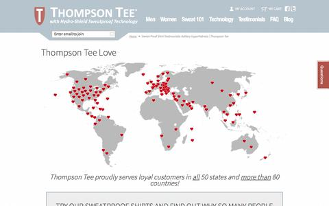 Screenshot of Testimonials Page thompsontee.com - Sweat Proof Shirt Testimonials: Axillary Hyperhidrosis | Thompson Tee - captured Feb. 28, 2016
