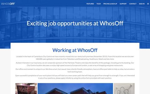 Screenshot of Jobs Page whosoff.com - Careers at WhosOff - captured Sept. 17, 2016