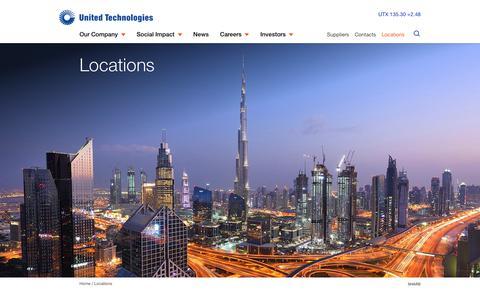 Screenshot of Locations Page utc.com - Locations | United Technologies - captured April 13, 2019
