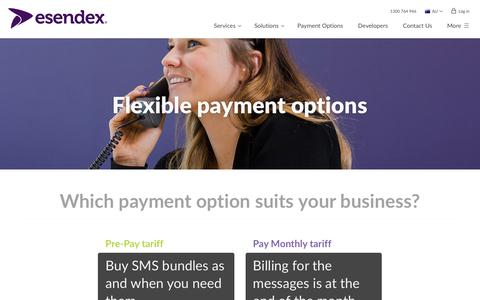 Screenshot of Pricing Page esendex.com.au - SMS Payment Options   Esendex - captured Aug. 17, 2017