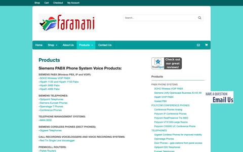 Screenshot of Products Page siemenssa.co.za - Siemens PABX Phone System Voice Products - captured Oct. 10, 2018