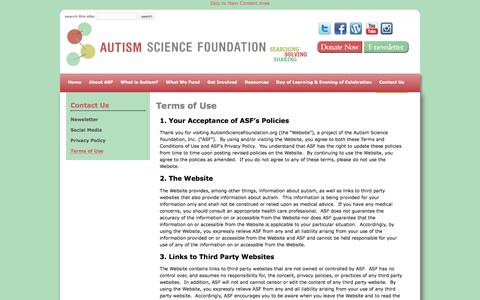 Screenshot of Terms Page autismsciencefoundation.org - Terms of Use - Autism Science Foundation - captured July 27, 2016