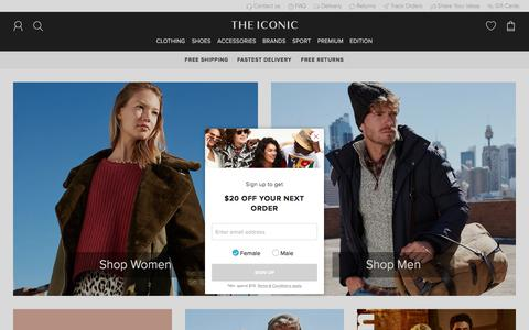 Screenshot of Home Page theiconic.com.au - Clothes Online | Shoes Online | THE ICONIC - captured May 12, 2018
