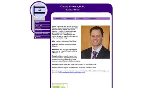 Screenshot of Home Page brismd.com - Craig Singer, M.D. - captured Sept. 30, 2014