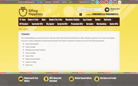 Screenshot of Jobs Page giftinghappiness.com - Careers | Gifting Happiness - captured Sept. 30, 2014