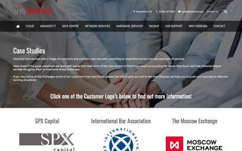 Screenshot of Case Studies Page vissensa.com - Client Case Studies | Cloud | Managed IT Services | Colocation - captured Sept. 20, 2018