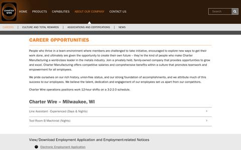 Screenshot of Jobs Page charterwire.com - Charter Wire LLC - About Our Company / Career Opportunities - captured July 17, 2018