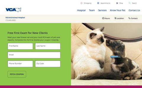 Screenshot of Signup Page vcahospitals.com - Free First Exam in Chicago, IL | VCA Ark Animal Hospital - captured July 4, 2018