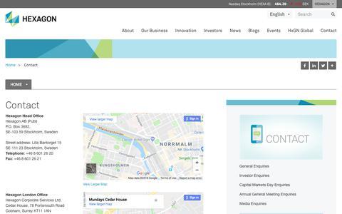 Screenshot of Contact Page hexagon.com - Contact | Hexagon - captured Feb. 5, 2018