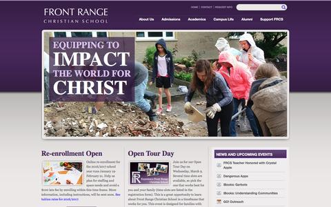Screenshot of Home Page frcs.org - Front Range Christian School | Distinctively Christian Educationally Excellent - captured Feb. 10, 2016