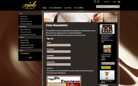 Screenshot of Signup Page cielomio.com - Cielo Newsletter | Cielo: Taste of Heaven - captured Oct. 2, 2014