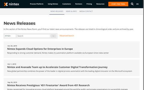 Screenshot of Press Page nintex.com - Nintex   News Releases - captured Oct. 31, 2019