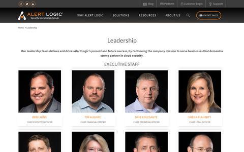Screenshot of Team Page alertlogic.com - Alert Logic Leadership – Alert Logic Executives | Alert Logic - captured May 17, 2018