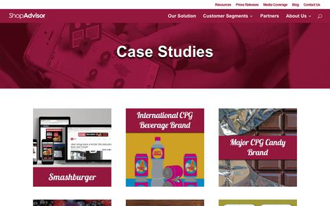 Screenshot of Case Studies Page shopadvisor.com - Case Studies - ShopAdvisor - captured Dec. 7, 2018