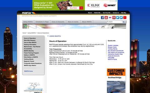 Screenshot of Hours Page itsmarta.com - MARTA - Using MARTA - captured Sept. 19, 2014