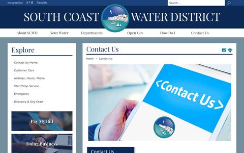 Screenshot of Support Page Hours Page scwd.org - South Coast Water District - Contact Us - captured Nov. 7, 2017