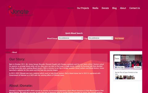 Screenshot of About Page idonate.pk - About - captured Jan. 9, 2016