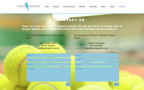 Screenshot of Contact Page coolsportz.co.uk - Contact us at Coosportz - captured July 22, 2018