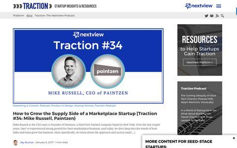 Screenshot of Blog nextviewventures.com - Startup Traction Blog from NextView - captured April 17, 2017