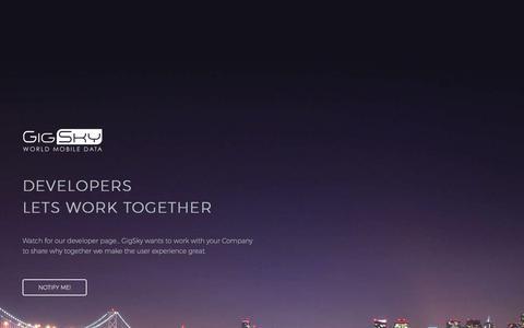 Screenshot of Developers Page gigsky.com - Developer Page to work with GigSky World Mobile Data - captured July 8, 2017