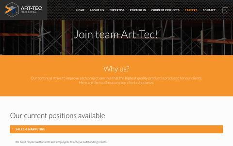 Screenshot of Jobs Page art-tec.com.au - Careers - Art-tec - captured Nov. 21, 2016
