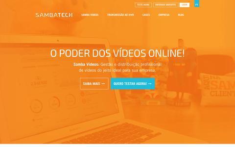 Screenshot of Home Page sambatech.com.br - Samba Tech: Soluções em Vídeos Online - captured Sept. 17, 2014