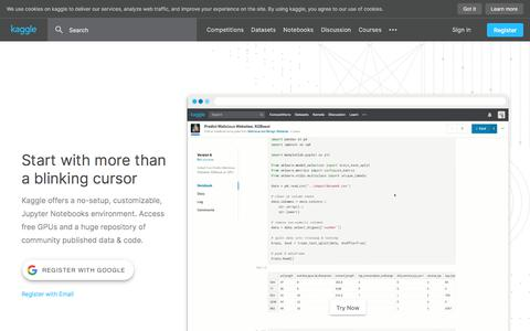 Screenshot of Home Page kaggle.com - Kaggle: Your Machine Learning and Data Science Community - captured Feb. 6, 2020