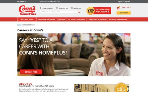 Screenshot of Jobs Page conns.com - Careers at Conn's - captured May 21, 2017