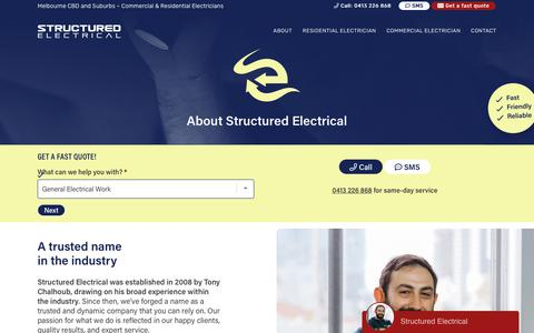 Screenshot of About Page structuredelectrical.com.au - About Structured Electrical – Structured Electrical – Melbourne Electricians - captured Oct. 20, 2018