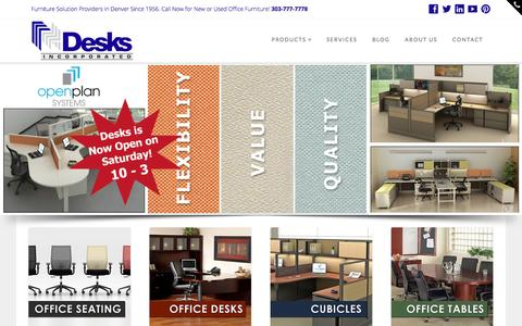 Screenshot of Home Page desks-incorporated.com - Desks Incorporated | Denver Office Furniture, Chairs, Tables, Cubicles - captured Dec. 5, 2015
