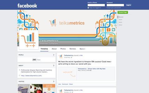 Screenshot of Facebook Page facebook.com - Teikametrics - Boston, Massachusetts - Internet/Software | Facebook - captured Oct. 26, 2014