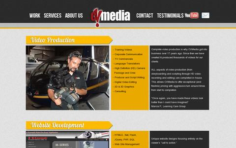 Screenshot of Services Page cvmedia.net - C V M E D I A  |  CORPORATE VIDEO SERVCES - captured July 19, 2014