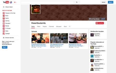 Screenshot of YouTube Page youtube.com - VisserGoutsmits  - YouTube - captured Nov. 5, 2014